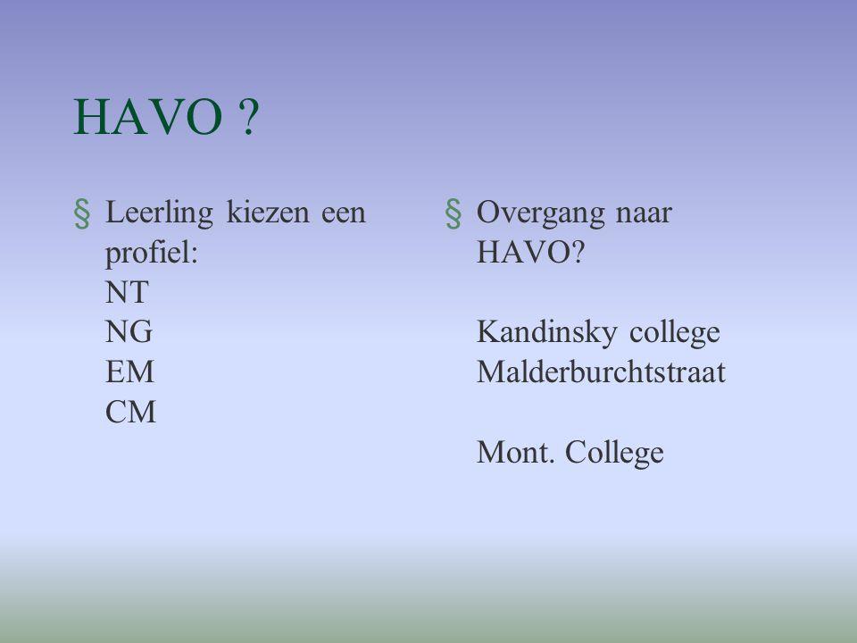HAVO ? §Leerling kiezen een profiel: NT NG EM CM §Overgang naar HAVO? Kandinsky college Malderburchtstraat Mont. College