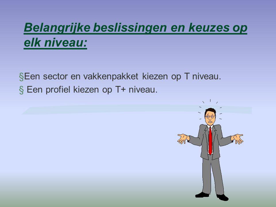 Belangrijke beslissingen en keuzes op elk niveau: §Een sector en vakkenpakket kiezen op T niveau.  Een profiel kiezen op T+ niveau.