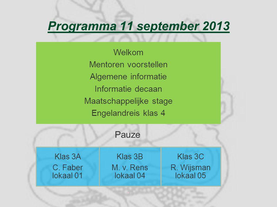 Programma 11 september 2013 Welkom Mentoren voorstellen Algemene informatie Informatie decaan Maatschappelijke stage Engelandreis klas 4 Klas 3A C. Fa