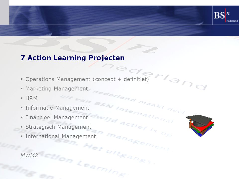 7 Action Learning Projecten  Operations Management (concept + definitief)  Marketing Management  HRM  Informatie Management  Financieel Management  Strategisch Management  International Management MWM2