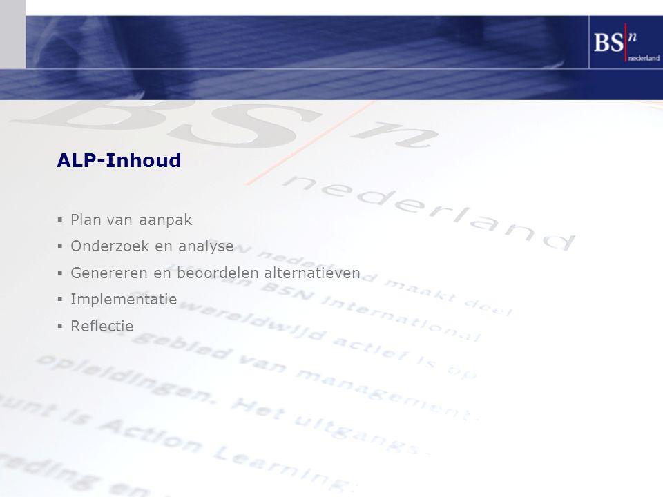 ALP-Inhoud  Plan van aanpak  Onderzoek en analyse  Genereren en beoordelen alternatieven  Implementatie  Reflectie
