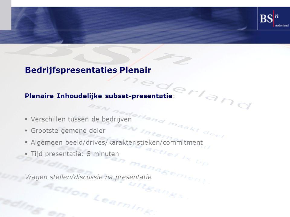 Bedrijfspresentaties Plenair Plenaire Inhoudelijke subset-presentatie:  Verschillen tussen de bedrijven  Grootste gemene deler  Algemeen beeld/driv