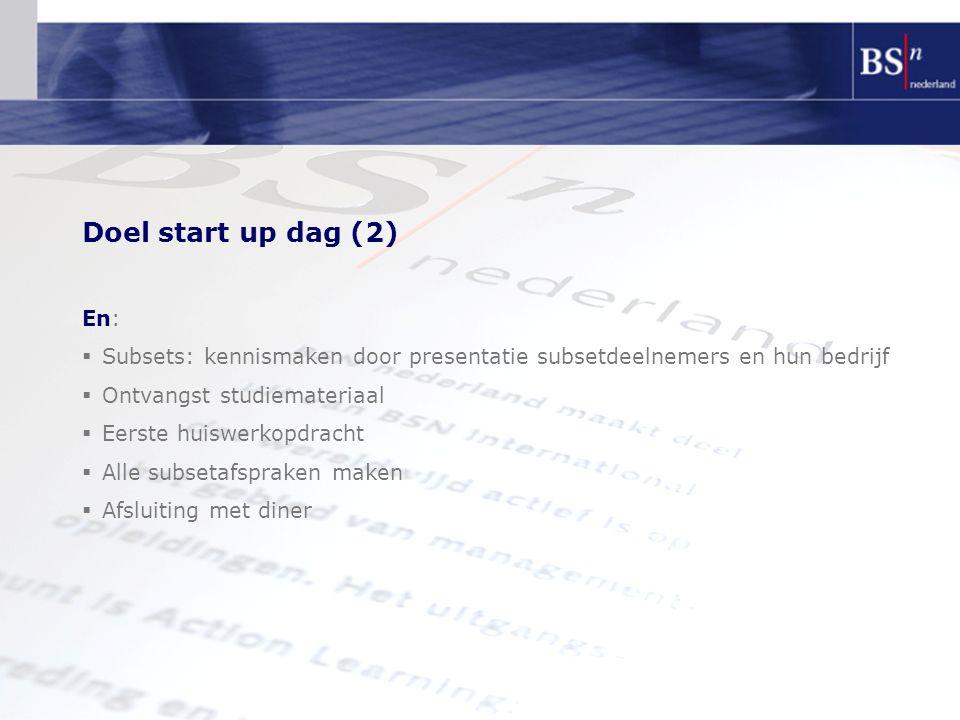 Doel start up dag (2) En:  Subsets: kennismaken door presentatie subsetdeelnemers en hun bedrijf  Ontvangst studiemateriaal  Eerste huiswerkopdrach