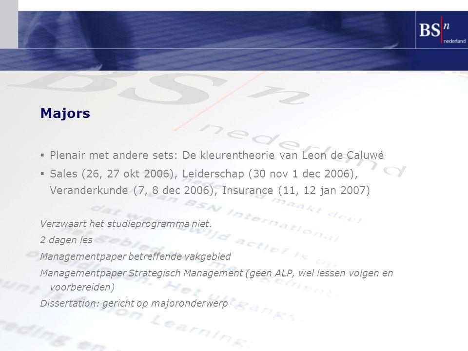 Majors  Plenair met andere sets: De kleurentheorie van Leon de Caluwé  Sales (26, 27 okt 2006), Leiderschap (30 nov 1 dec 2006), Veranderkunde (7, 8