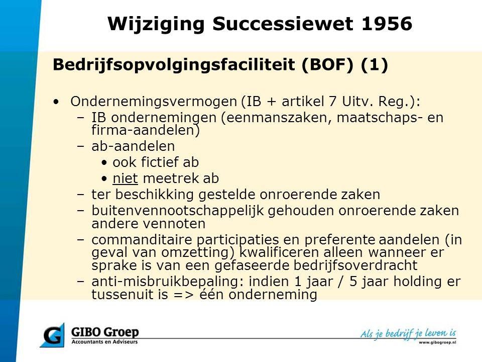 Wijziging Successiewet 1956 Bedrijfsopvolgingsfaciliteit (BOF) (1) Ondernemingsvermogen (IB + artikel 7 Uitv. Reg.): –IB ondernemingen (eenmanszaken,