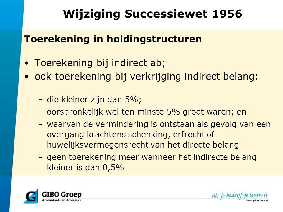 Wijziging Successiewet 1956 Toerekening in holdingstructuren Toerekening bij indirect ab; ook toerekening bij verkrijging indirect belang: –die kleine