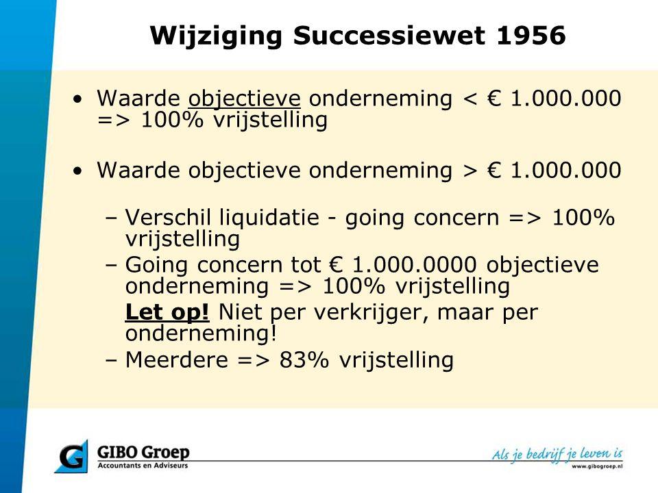 Wijziging Successiewet 1956 Waarde objectieve onderneming 100% vrijstelling Waarde objectieve onderneming > € 1.000.000 –Verschil liquidatie - going c