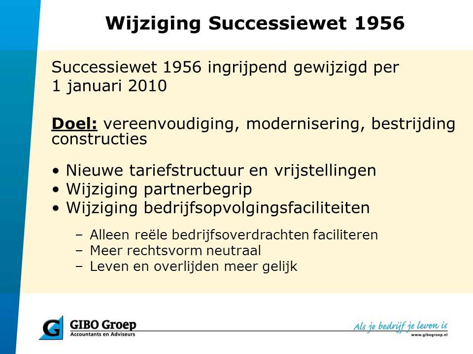 Wijziging Successiewet 1956 Bedrijfsopvolgingsfaciliteit (BOF) (2) Vrijstelling: –Afhankelijk van de waarde van de objectieve onderneming –tot € 1.000.000 is 100% vrijgesteld, en –83% van het meerdere Bezitstermijn Geen leeftijdsgrens of arbeidsongeschiktheidseis meer bij schenking Beleggingen 15% => 5% Toerekening latentie => evenredig