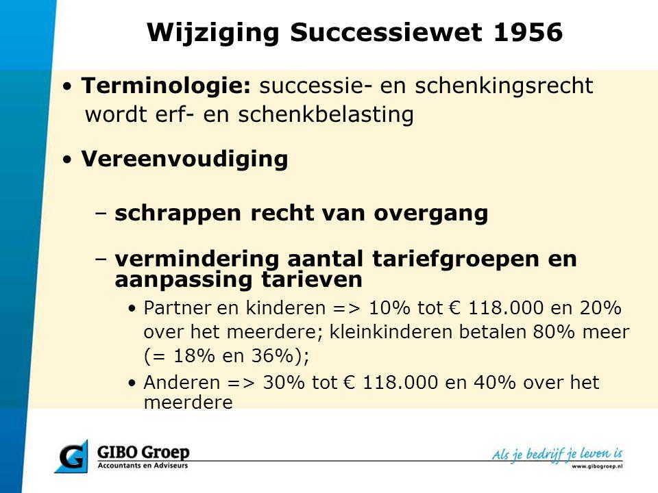 Wijziging Successiewet 1956 Terminologie: successie- en schenkingsrecht wordt erf- en schenkbelasting Vereenvoudiging –schrappen recht van overgang –v