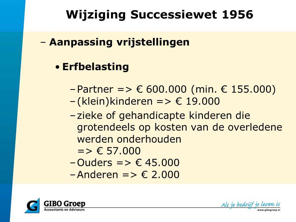 Wijziging Successiewet 1956 Schenkbelasting –kinderen => € 5.000/€ 24.000 –Kinderen => € 50.000 (voor studie of aankoop woning); Splitsen mag, mits het gedeelte dat voor iets anders dan de aanschaf van een woning of betaling studiekosten wordt gebruikt niet groter is dan € 24.000.