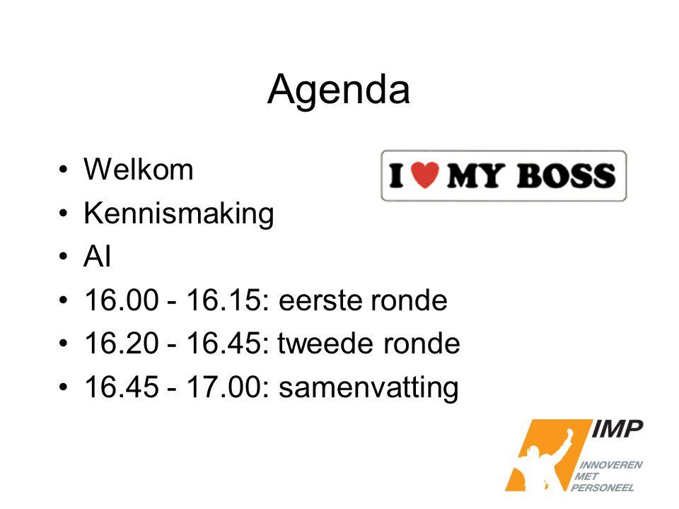 Agenda Welkom Kennismaking AI 16.00 - 16.15: eerste ronde 16.20 - 16.45: tweede ronde 16.45 - 17.00: samenvatting
