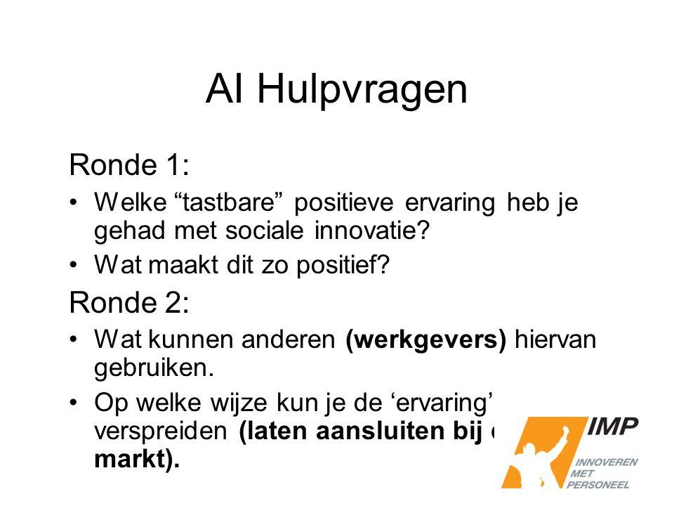 """AI Hulpvragen Ronde 1: Welke """"tastbare"""" positieve ervaring heb je gehad met sociale innovatie? Wat maakt dit zo positief? Ronde 2: Wat kunnen anderen"""