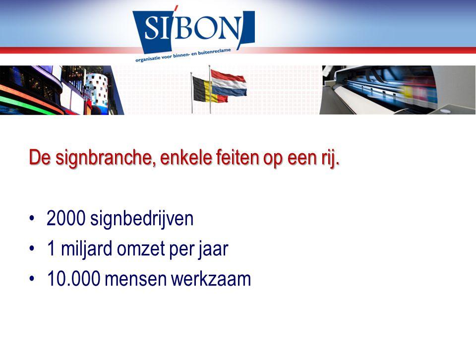 De signbranche, enkele feiten op een rij. 2000 signbedrijven 1 miljard omzet per jaar 10.000 mensen werkzaam