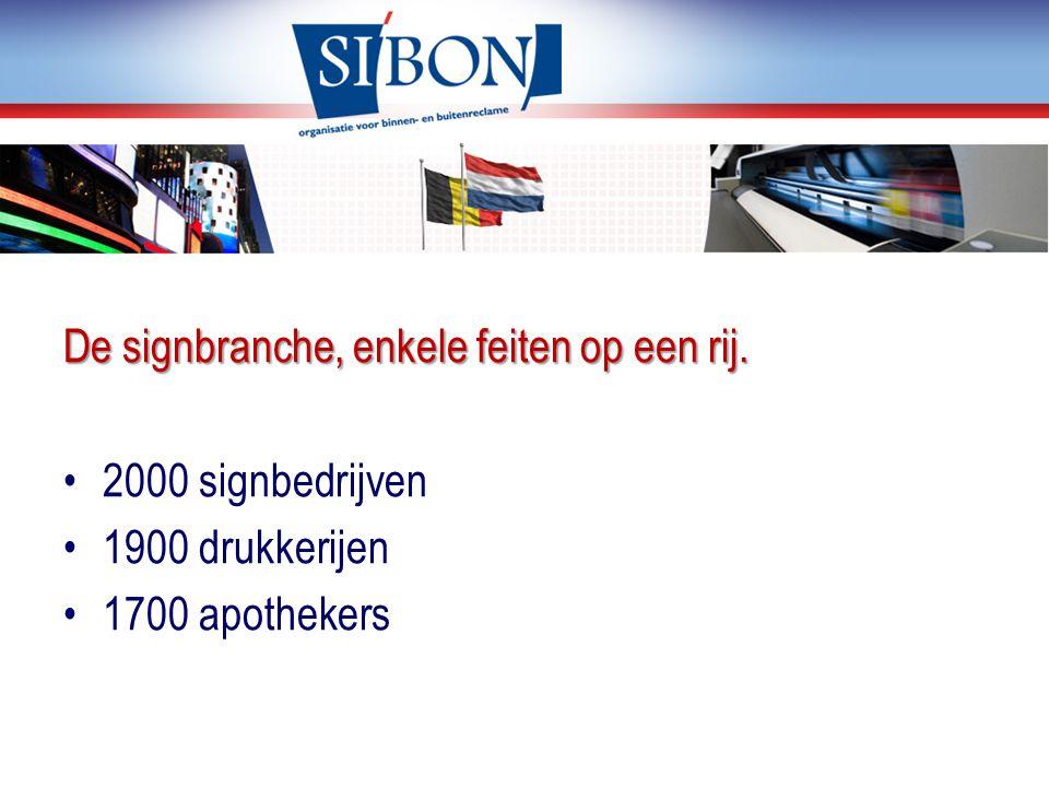 De signbranche, enkele feiten op een rij. 2000 signbedrijven 1900 drukkerijen 1700 apothekers