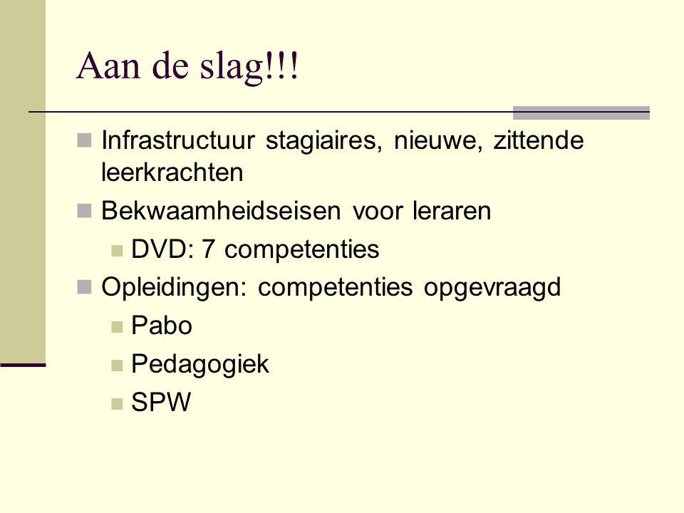 Aan de slag!!! Infrastructuur stagiaires, nieuwe, zittende leerkrachten Bekwaamheidseisen voor leraren DVD: 7 competenties Opleidingen: competenties o