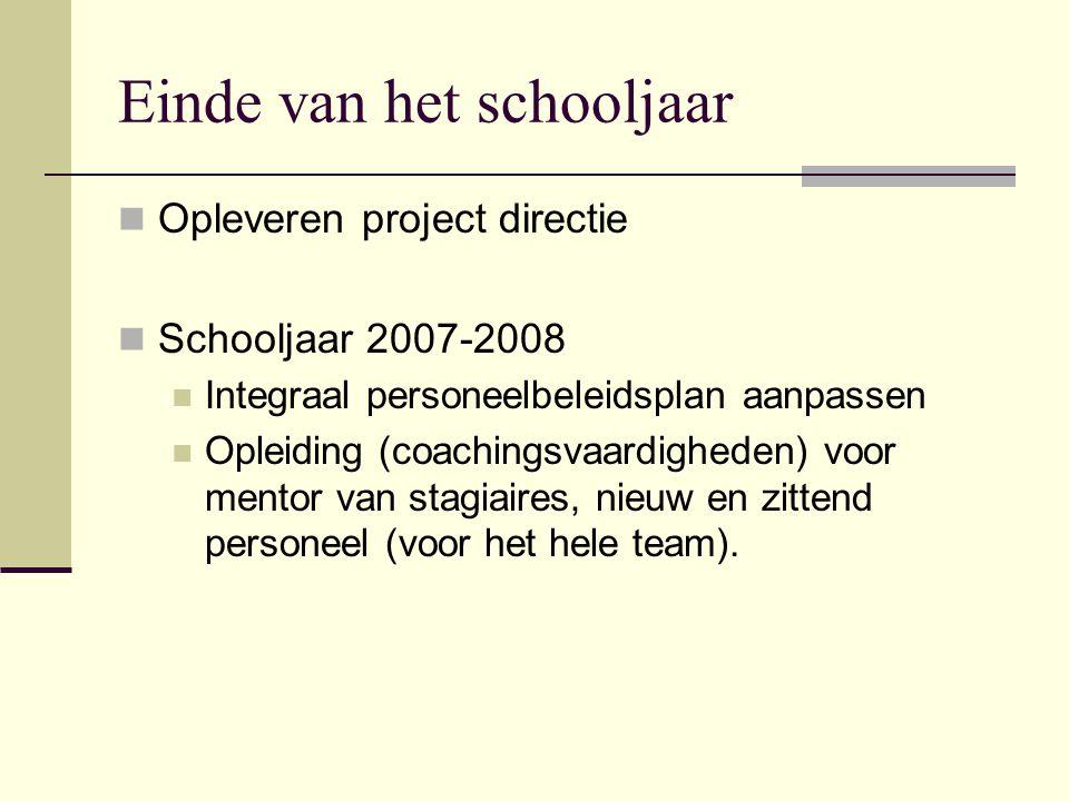 Einde van het schooljaar Opleveren project directie Schooljaar 2007-2008 Integraal personeelbeleidsplan aanpassen Opleiding (coachingsvaardigheden) vo
