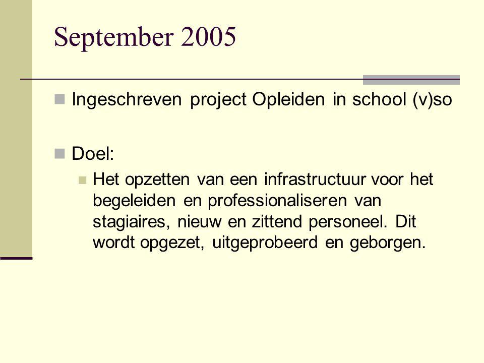 September 2005 Ingeschreven project Opleiden in school (v)so Doel: Het opzetten van een infrastructuur voor het begeleiden en professionaliseren van s