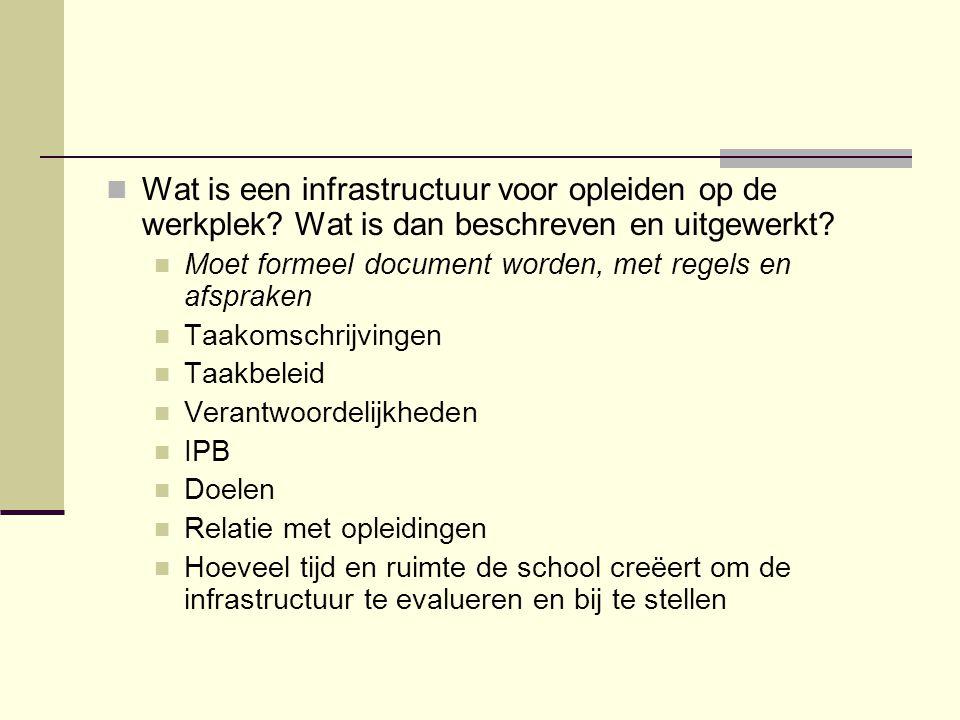 Wat is een infrastructuur voor opleiden op de werkplek? Wat is dan beschreven en uitgewerkt? Moet formeel document worden, met regels en afspraken Taa