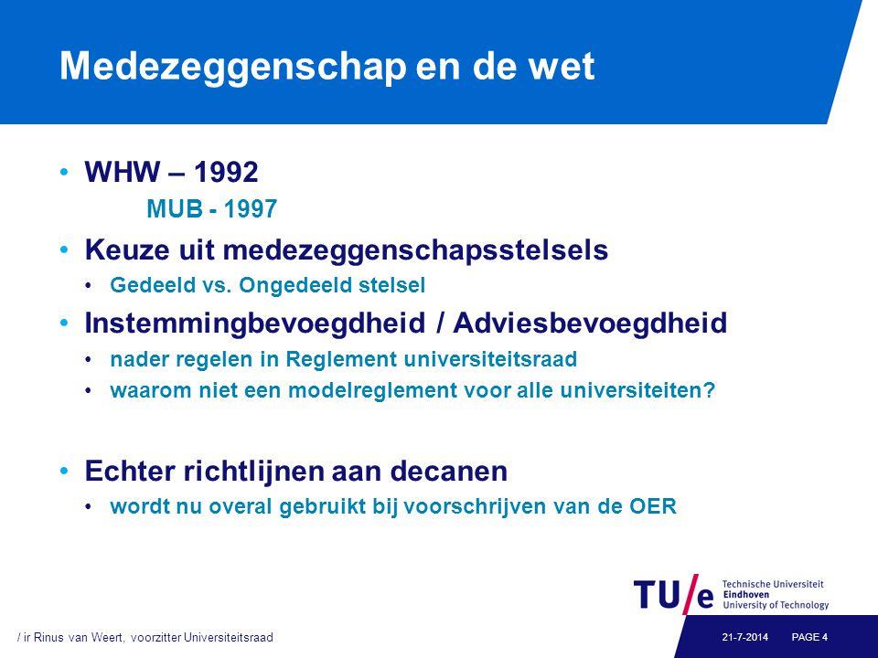 Medezeggenschap en de wet WHW – 1992 MUB - 1997 Keuze uit medezeggenschapsstelsels Gedeeld vs. Ongedeeld stelsel Instemmingbevoegdheid / Adviesbevoegd