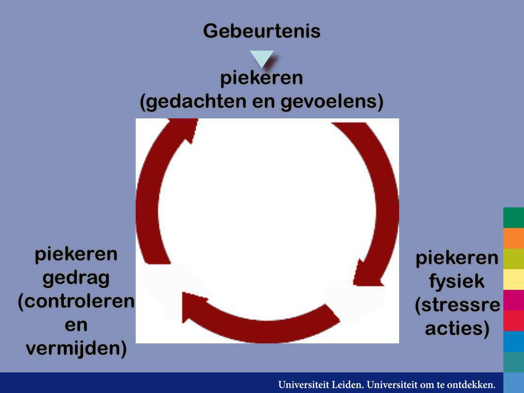 Gebeurtenis piekeren (gedachten en gevoelens) piekeren (gedachten en gevoelens) piekeren gedrag (controleren en vermijden) piekeren gedrag (controlere