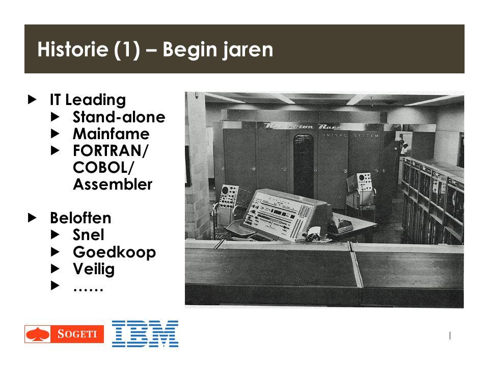 | Historie (1) – Begin jaren  IT Leading  Stand-alone  Mainfame  FORTRAN/ COBOL/ Assembler  Beloften  Snel  Goedkoop  Veilig  ……