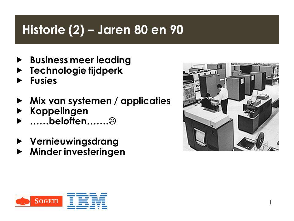 | Historie (2) – Jaren 80 en 90  Business meer leading  Technologie tijdperk  Fusies  Mix van systemen / applicaties  Koppelingen  ……beloften…….