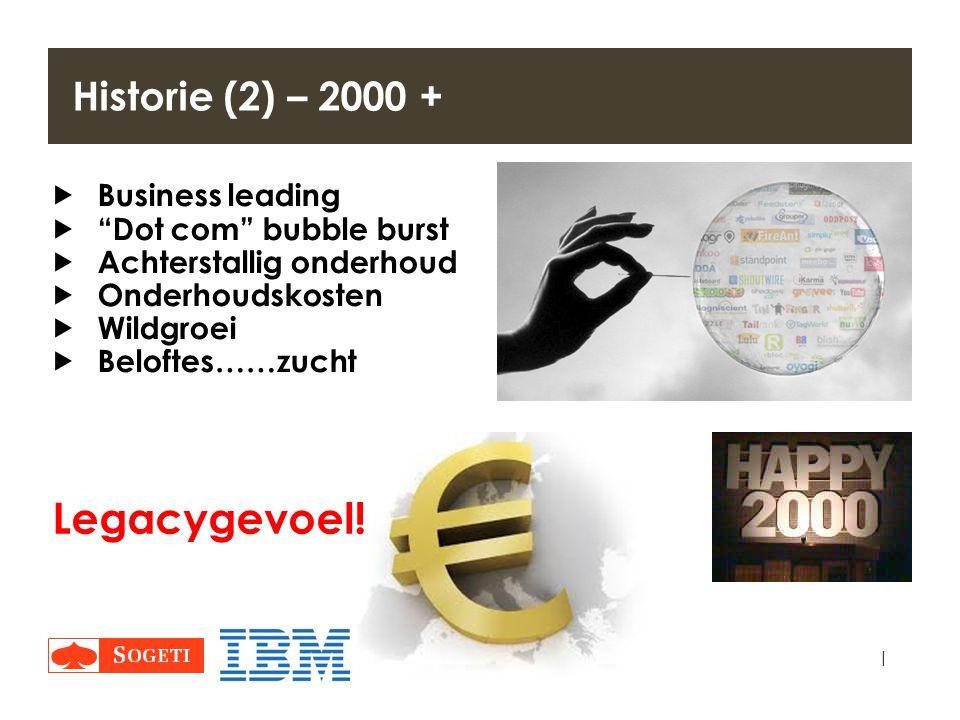 "| Historie (2) – 2000 +  Business leading  ""Dot com"" bubble burst  Achterstallig onderhoud  Onderhoudskosten  Wildgroei  Beloftes……zucht Legacyg"
