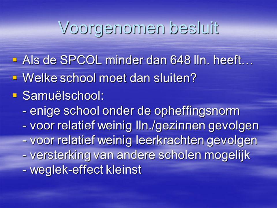 Voorgenomen besluit  Als de SPCOL minder dan 648 lln. heeft…  Welke school moet dan sluiten?  Samuëlschool: - enige school onder de opheffingsnorm
