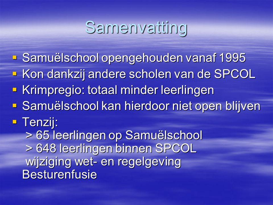 Samenvatting  Samuëlschool opengehouden vanaf 1995  Kon dankzij andere scholen van de SPCOL  Krimpregio: totaal minder leerlingen  Samuëlschool ka