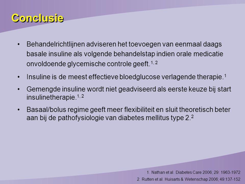 Conclusie Behandelrichtlijnen adviseren het toevoegen van eenmaal daags basale insuline als volgende behandelstap indien orale medicatie onvoldoende glycemische controle geeft.
