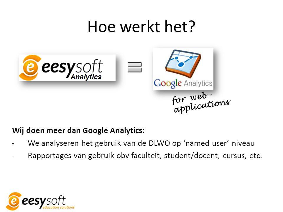 Hoe werkt het? Wij doen meer dan Google Analytics: -We analyseren het gebruik van de DLWO op 'named user' niveau -Rapportages van gebruik obv facultei