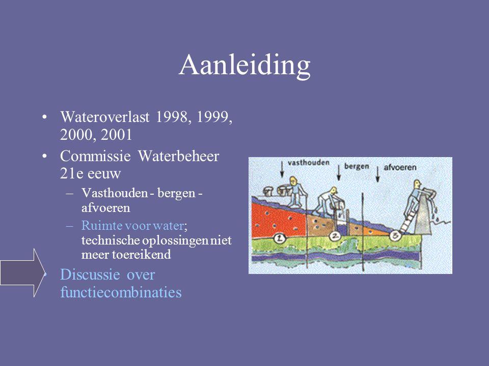 Aanleiding Wateroverlast 1998, 1999, 2000, 2001 Commissie Waterbeheer 21e eeuw –Vasthouden - bergen - afvoeren –Ruimte voor water; technische oplossingen niet meer toereikend Discussie over functiecombinaties