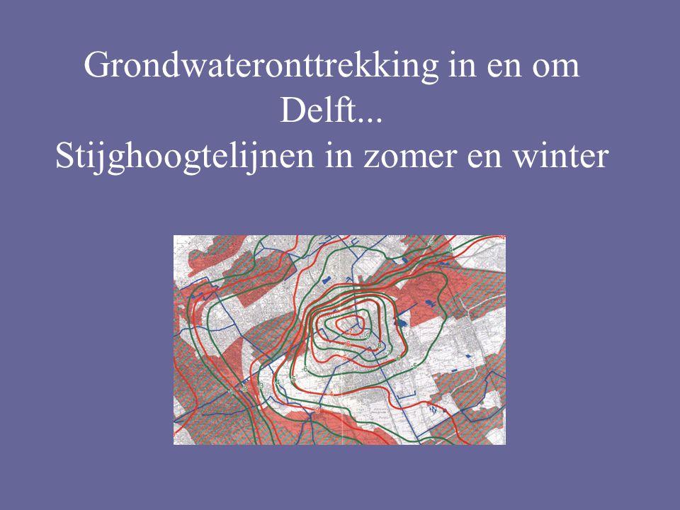 Grondwateronttrekking in en om Delft... Stijghoogtelijnen in zomer en winter