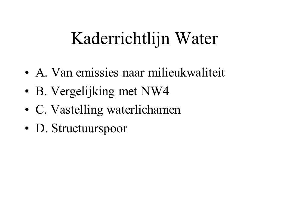 Kaderrichtlijn Water A. Van emissies naar milieukwaliteit B. Vergelijking met NW4 C. Vastelling waterlichamen D. Structuurspoor