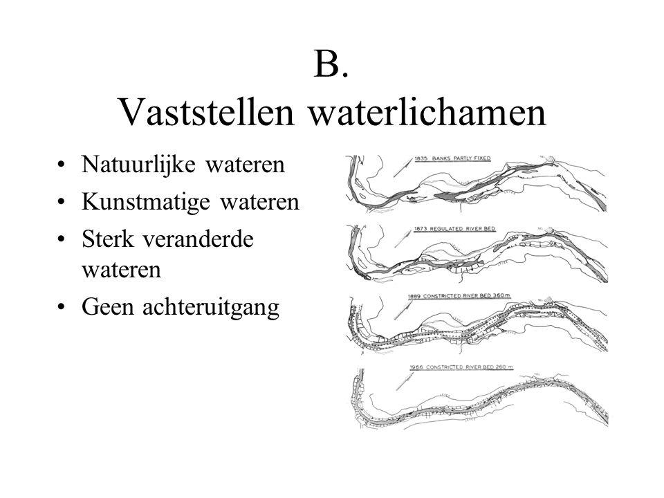 B. Vaststellen waterlichamen Natuurlijke wateren Kunstmatige wateren Sterk veranderde wateren Geen achteruitgang