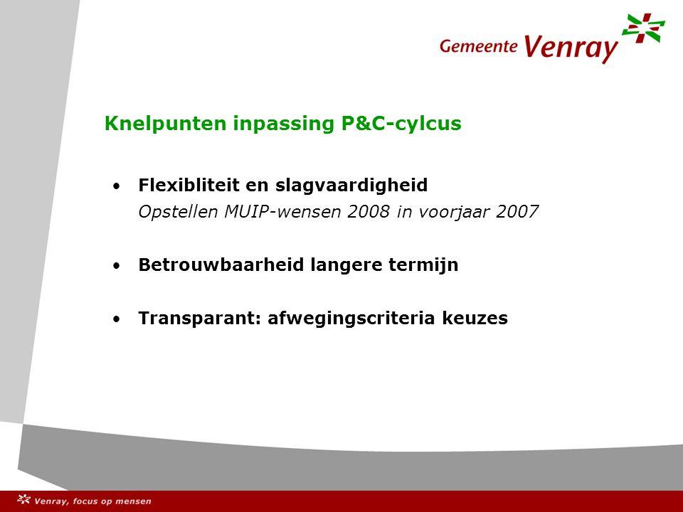 Knelpunten inpassing P&C-cylcus Flexibliteit en slagvaardigheid Opstellen MUIP-wensen 2008 in voorjaar 2007 Betrouwbaarheid langere termijn Transparant: afwegingscriteria keuzes