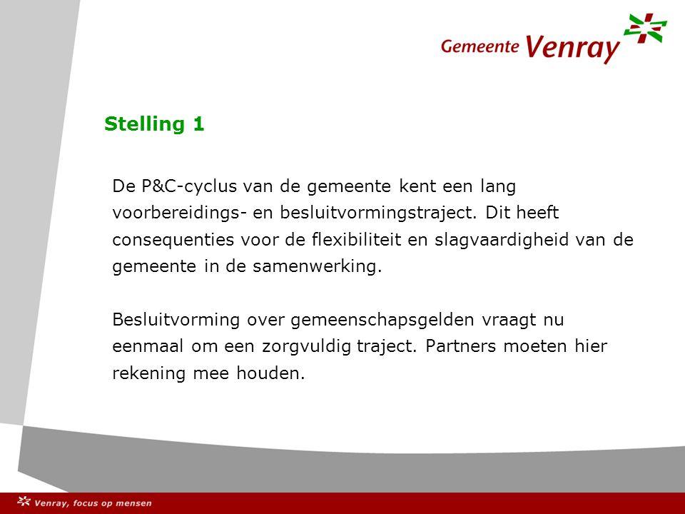 Stelling 1 De P&C-cyclus van de gemeente kent een lang voorbereidings- en besluitvormingstraject.