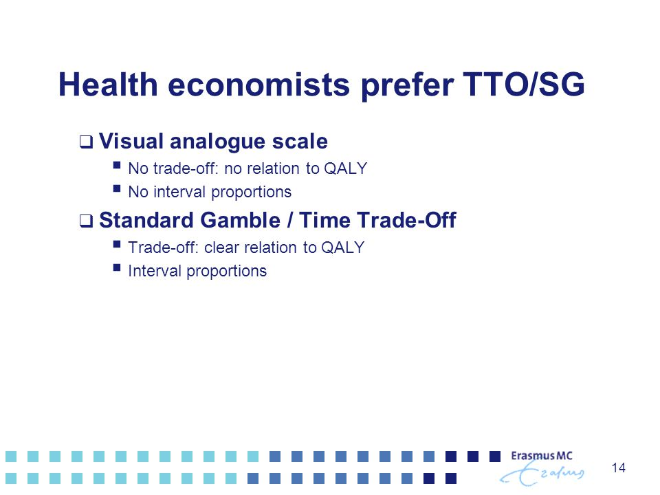 14 Health economists prefer TTO/SG  Visual analogue scale  No trade-off: no relation to QALY  No interval proportions  Standard Gamble / Time Trad