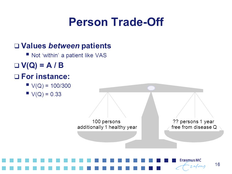 16 Person Trade-Off  Values between patients  Not 'within' a patient like VAS  V(Q) = A / B  For instance:  V(Q) = 100/300  V(Q) = 0.33 ?? perso