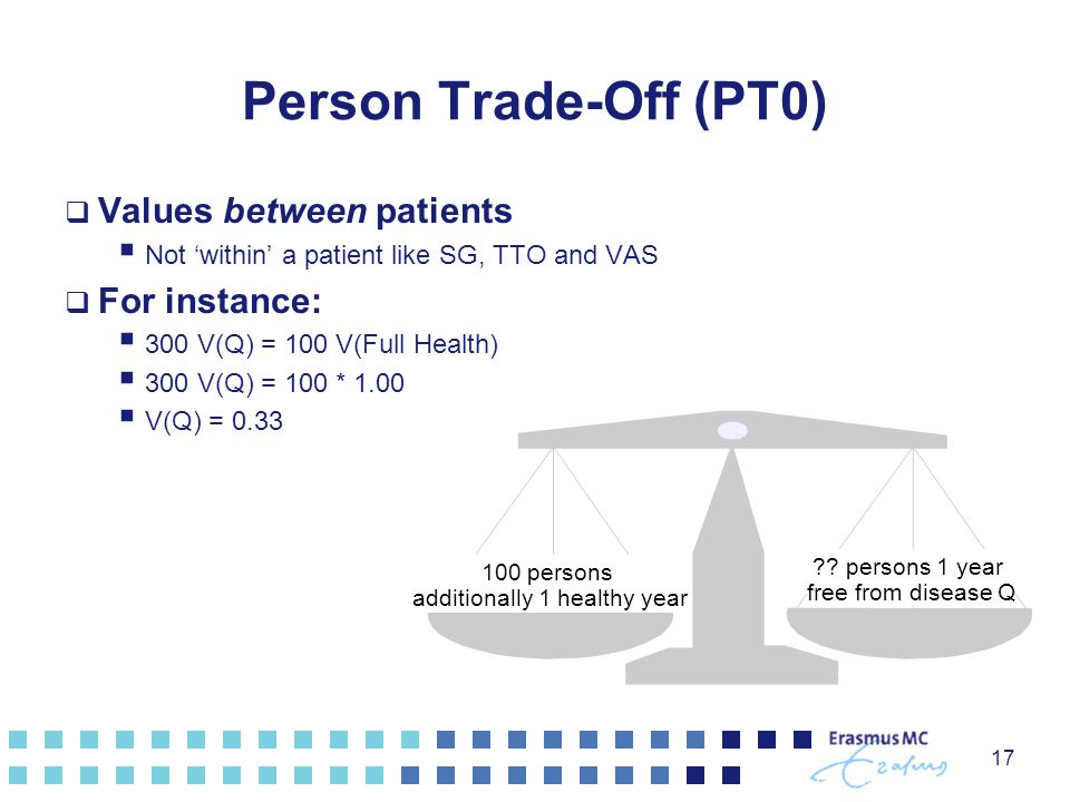 17 Person Trade-Off (PT0)  Values between patients  Not 'within' a patient like SG, TTO and VAS  For instance:  300 V(Q) = 100 V(Full Health)  30