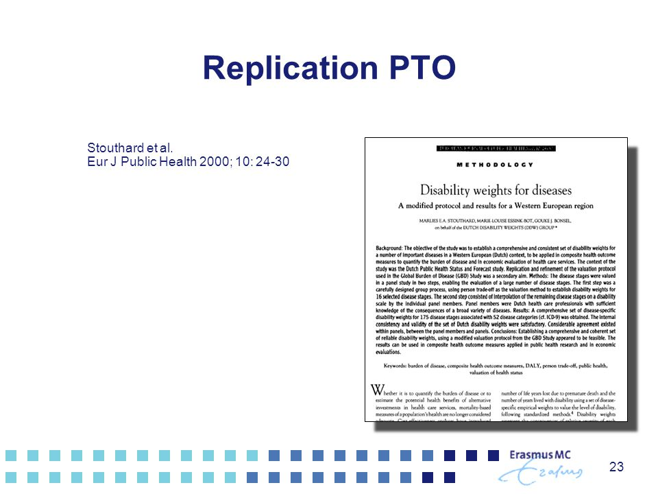 Replication PTO 23 Stouthard et al. Eur J Public Health 2000; 10: 24-30