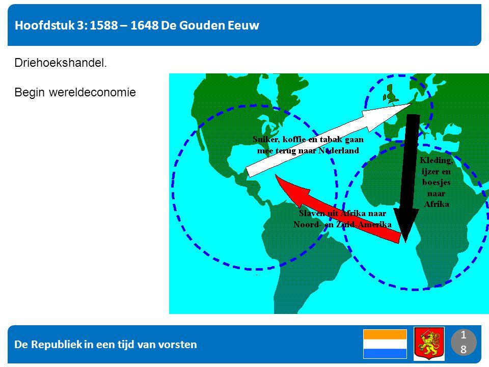 De Republiek in een tijd van vorsten 18 Hoofdstuk 3: 1588 – 1648 De Gouden Eeuw 18 Driehoekshandel. Begin wereldeconomie