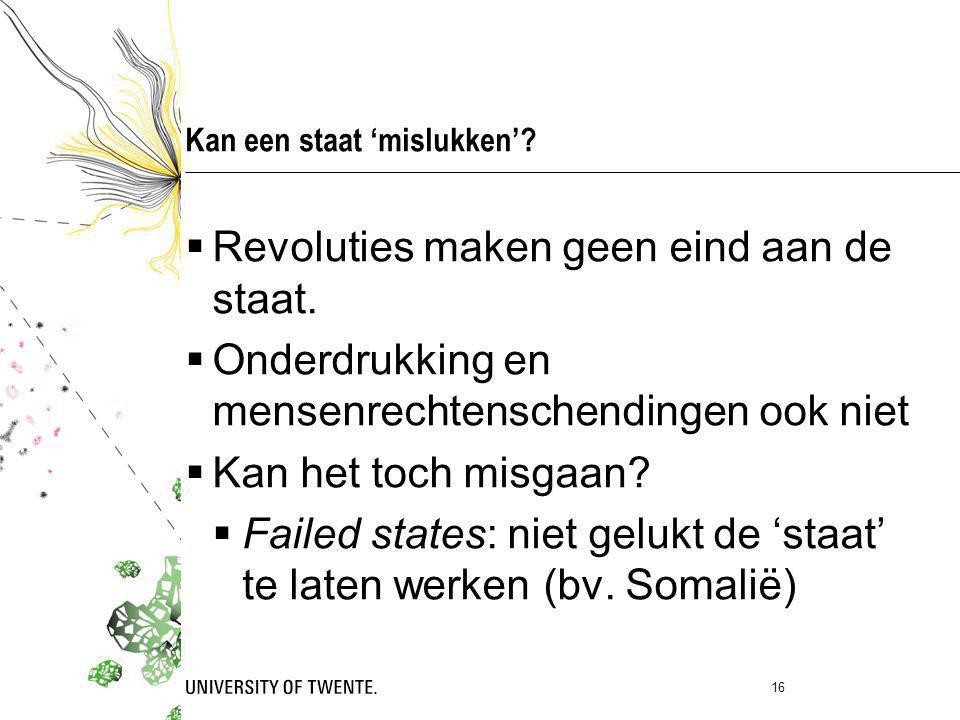  Revoluties maken geen eind aan de staat.  Onderdrukking en mensenrechtenschendingen ook niet  Kan het toch misgaan?  Failed states: niet gelukt d