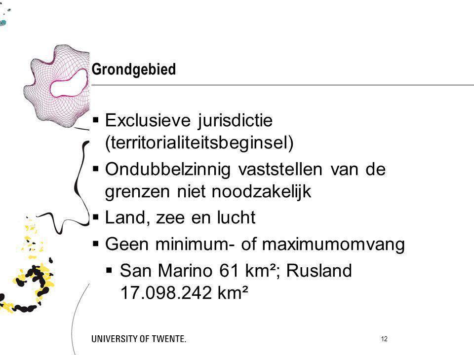 Grondgebied  Exclusieve jurisdictie (territorialiteitsbeginsel)  Ondubbelzinnig vaststellen van de grenzen niet noodzakelijk  Land, zee en lucht 