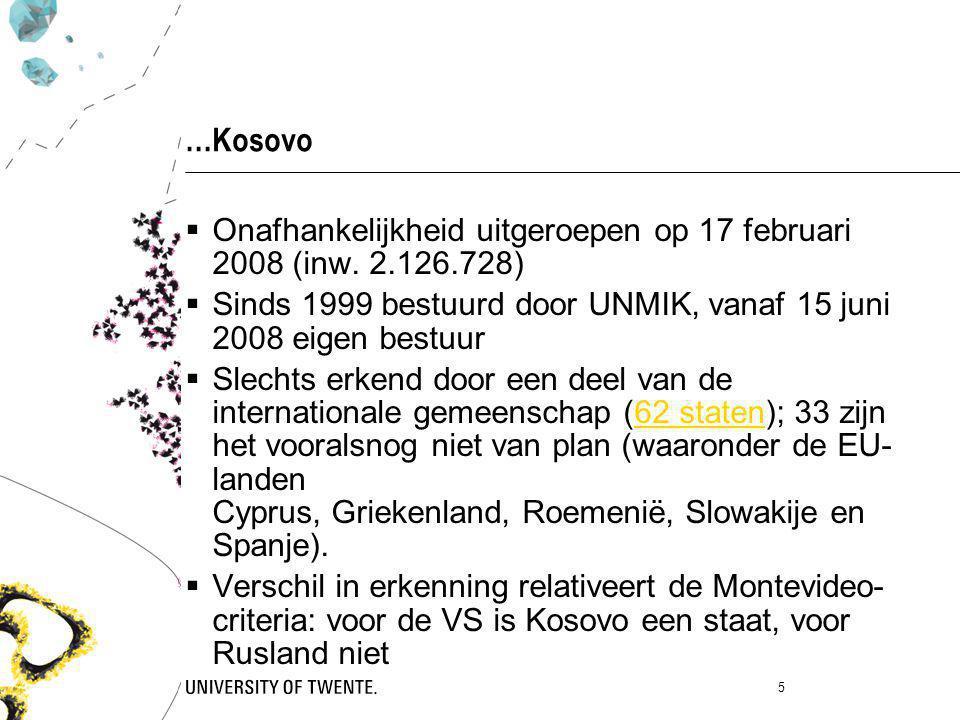 …Kosovo  Onafhankelijkheid uitgeroepen op 17 februari 2008 (inw. 2.126.728)  Sinds 1999 bestuurd door UNMIK, vanaf 15 juni 2008 eigen bestuur  Slec
