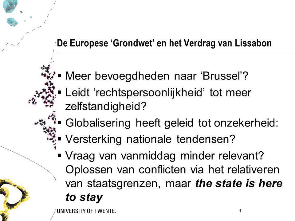 De Europese 'Grondwet' en het Verdrag van Lissabon  Meer bevoegdheden naar 'Brussel'?  Leidt 'rechtspersoonlijkheid' tot meer zelfstandigheid?  Glo