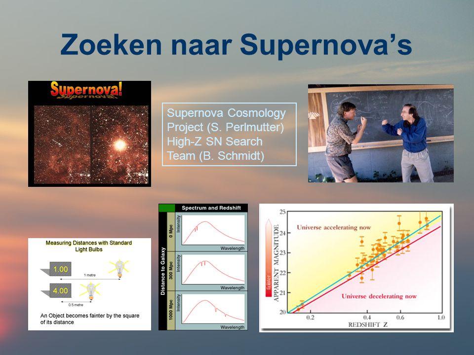 Zoeken naar Supernova's Supernova Cosmology Project (S. Perlmutter) High-Z SN Search Team (B. Schmidt)