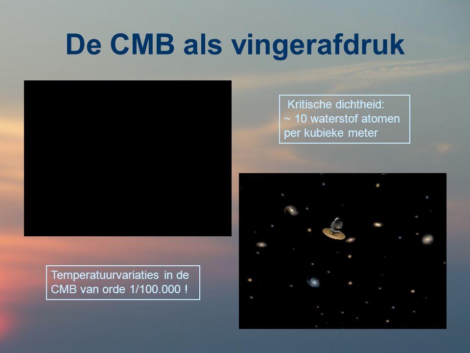 De CMB als vingerafdruk Kritische dichtheid: ~ 10 waterstof atomen per kubieke meter Temperatuurvariaties in de CMB van orde 1/100.000 !