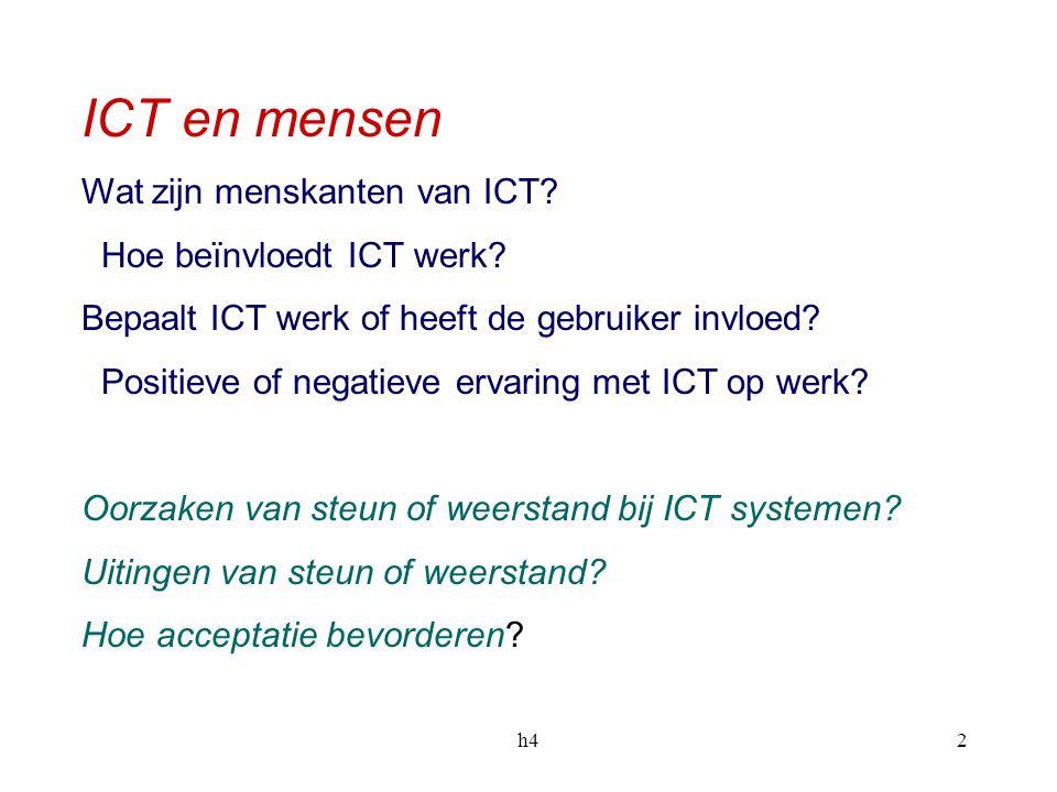 h42 ICT en mensen Wat zijn menskanten van ICT.Hoe beïnvloedt ICT werk.