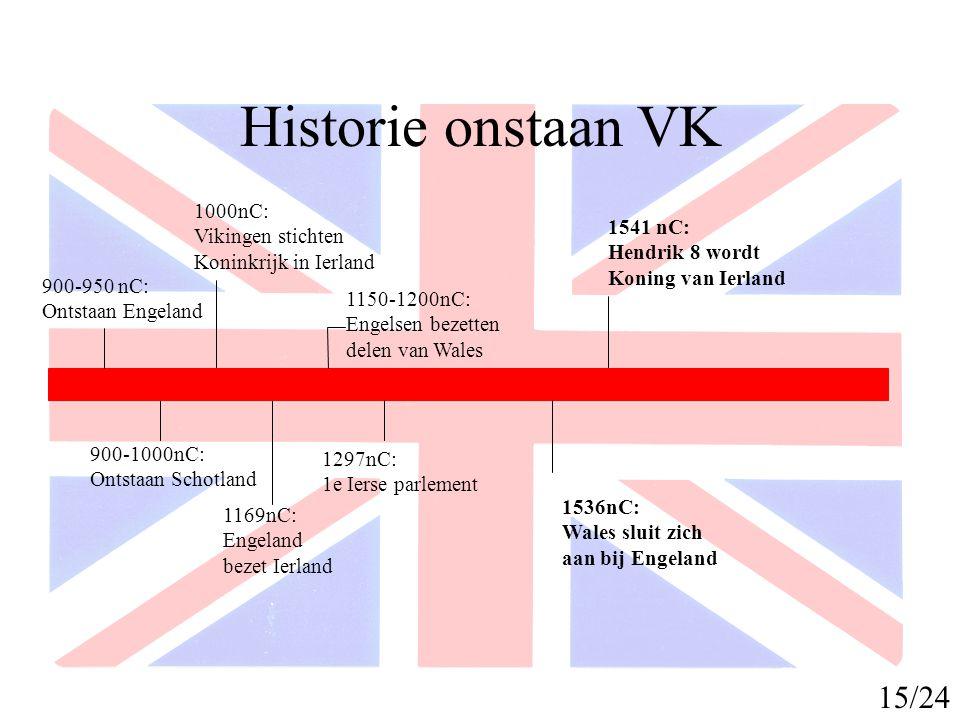 Historie onstaan VK 1603 nC: Elizabeth 1 overlijdt, union of the crown 1706 nC: Schotland heft parlement op 1800 nC: Ierse parlement wordt ontbonden United Kingdom of Great Britain and Ierland op zijn grootst 16/24